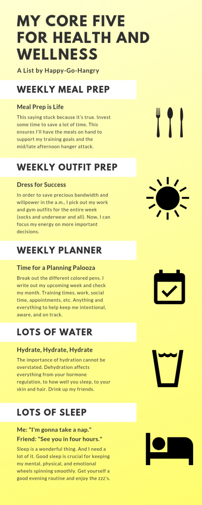 infographic of my core five tips for health and wellness